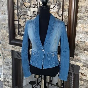 BCBG Max Azria Denim Tuxedo Jacket - Small